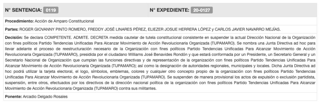 Sentencia tupamaro - NDV