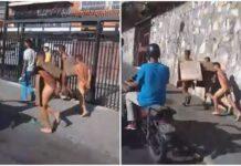 Delincuentes desnudados en cola de gasolina