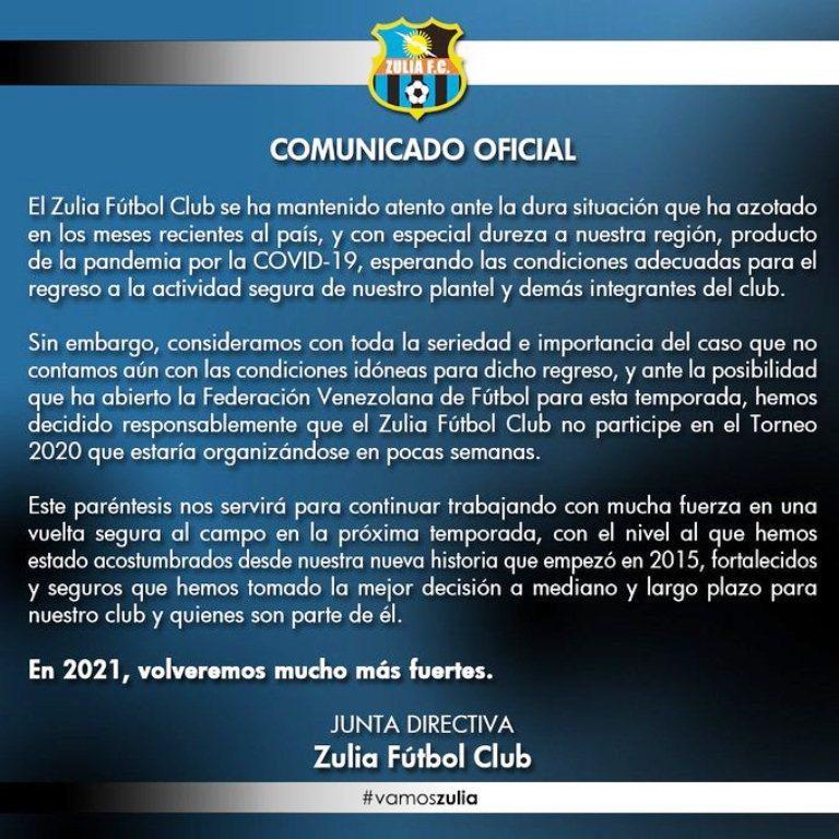 Zulia FC declinó en jugar - NDV