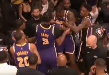 pelea en derrota de los Lakers